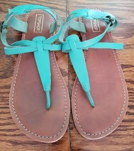 TOPSHOP t-strap teal sandals size 9